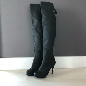 Shoes - Matte black Thigh-High Heel Boots